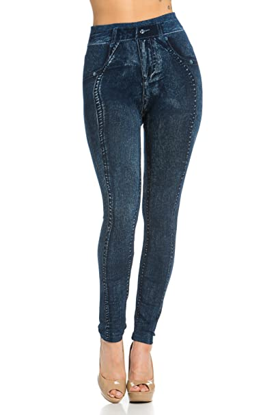 334c1246eae33 My Yuccie Denim Printed Leggings Seamless Jeggings Available in Plus Size ( One, MYP2170_79Blue) at Amazon Women's Clothing store: