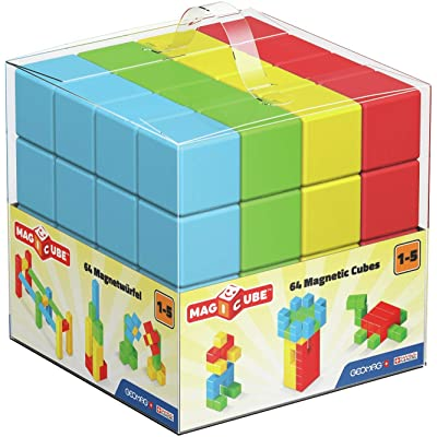 Geomag MAGICUBE Pre-School, 64 Magnetic Cubes for Creative Play, Kids Ages 1-5, Educational Construction Toys Set: Toys & Games