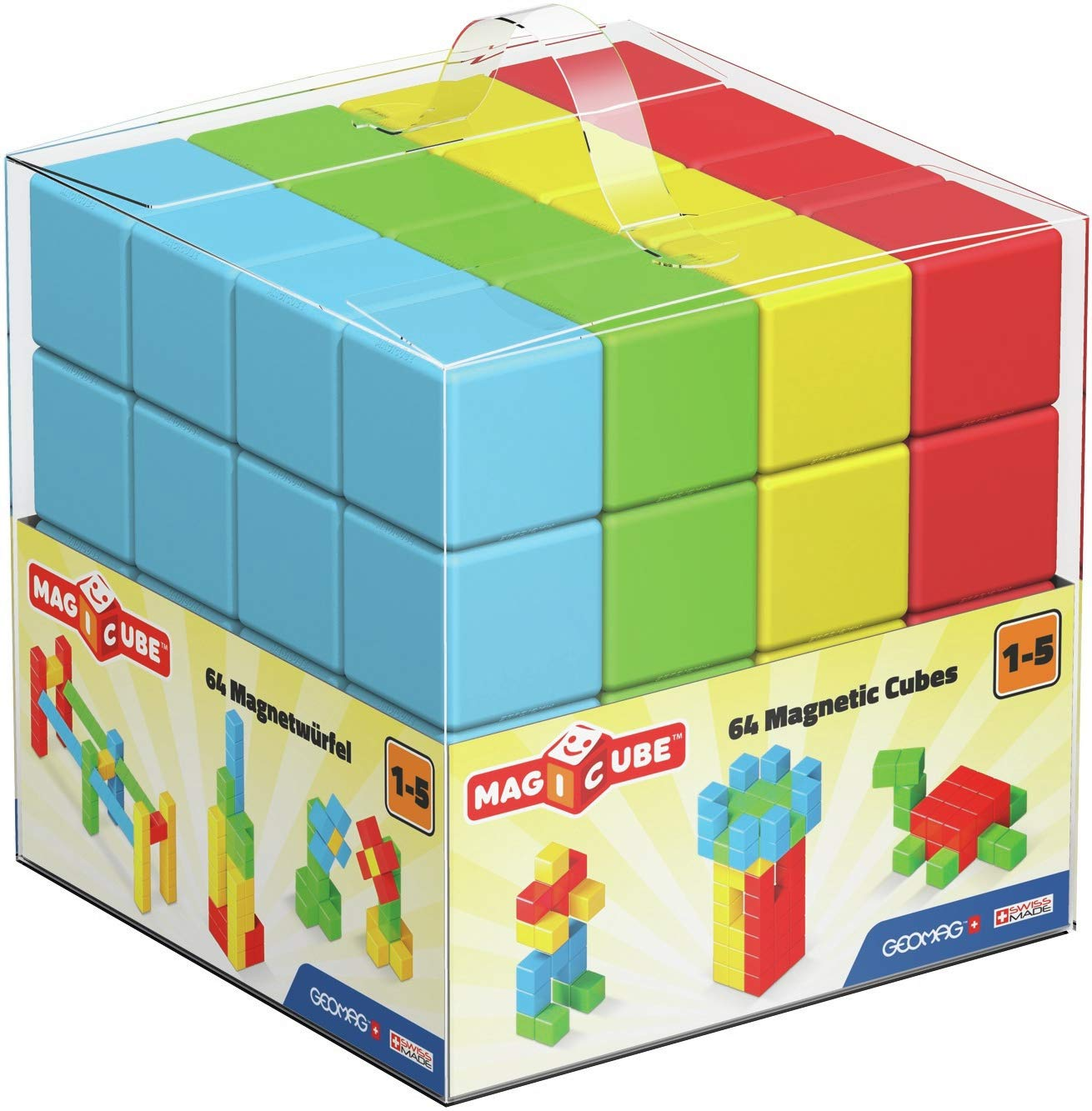 64 Magnetic Cubes for Creative Play Educational Construction Toys Set Kids Ages 1-5 Geomag MAGICUBE Pre-School
