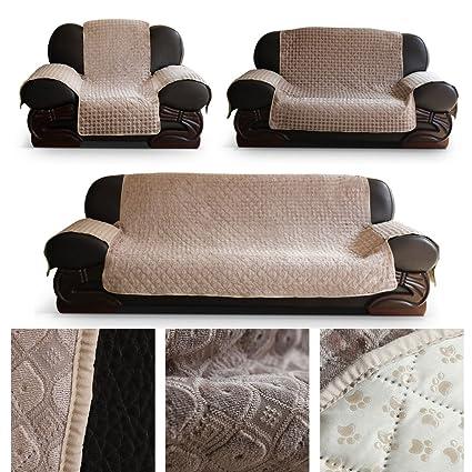 HDM antideslizante 2 plazas 171x256,5 cm cubierta de sofá en beige sillón protector Soft Touch sofá cubierta sillón de protección Sofá infantil 100% ...