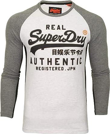 Superdry - Camiseta de Manga Larga con Logo Vintage