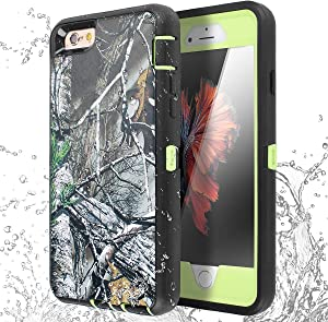 iPhone 6 Case, iPhone 6S Case [Heavy Duty] AICase Tough 3 in 1 Rugged Shockproof Cover for Apple iPhone 6/6S (Leaf Camouflage with Belt Clip)
