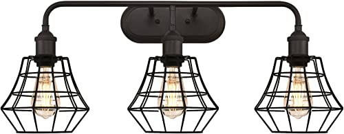 Globe Electric 64751 1 Light Vintage Edison Hanging Caged Pedant Light Fixture, Oil Rubbed Bronze Finish
