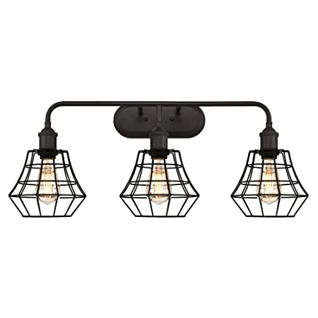 Westinghouse Lighting 6336600 Nathaniel Three-Light Indoor Wall Fixture, Oil Rubbed Bronze Finish with Matte Black Angled Bell Cage Shades,