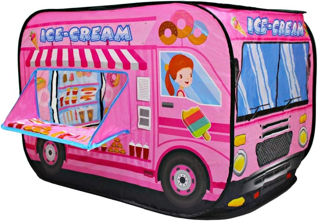 deAO Casita de Juegos Carpa Infantil Tienda con Diseño Pop Up Auto Armable Montaje Rápido Actividades Recreativas al Interior Exterior Área de Recreo (Heladería, Camión de los Helados)