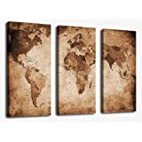 Wall Art Canvas Prints Vintage World Map Painting Ready to Hang - 3 Pieces Large Framed Canvas Art Retro Antiquated Map of the World Painting Abstract Picture Artwork for Home Office Decoration