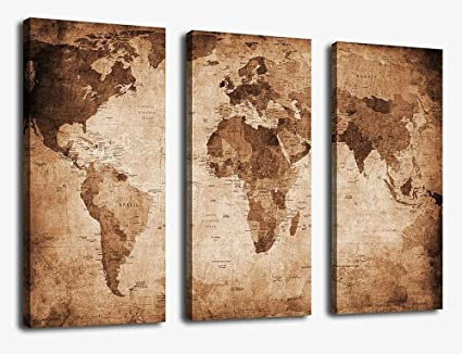 Amazon canvas wall art vintage world map painting ready to hang canvas wall art vintage world map painting ready to hang 3 pieces large framed old gumiabroncs