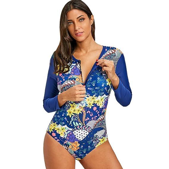 f5c8cf87e1c59 2018 Summer Sports Swimsuit Whole Floral Printed Tankini Long-Sleeved Sexy  Bikini Swimwear Sea Blue: Amazon.co.uk: Clothing