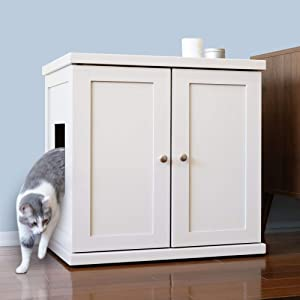 THE REFINED FELINE Cat Litter Box Enclosure Cabinet, Hidden Litter Tray Cat Furniture, Large, Modern Style, White Color