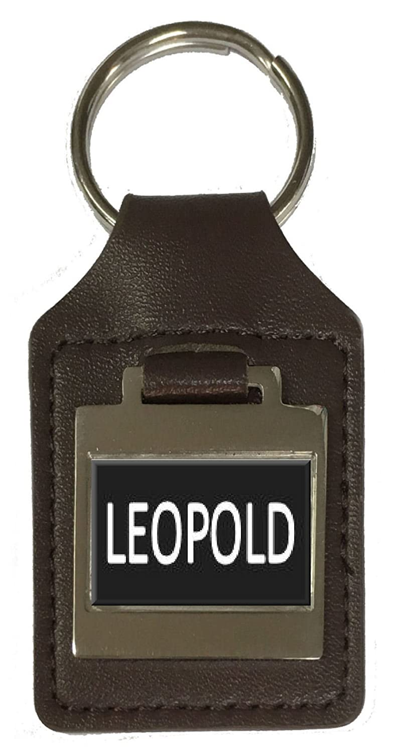 Leopold Leather Keyring Birthday Name Optional Engraving