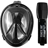 FishEye 180° Full Face Snorkel Mask - Latest 2017 Tubeless Design Using Superior Dry Snorkel Technology. Anti-fog, Anti-Leak, Snorkeling Mask With Larger Viewing Area