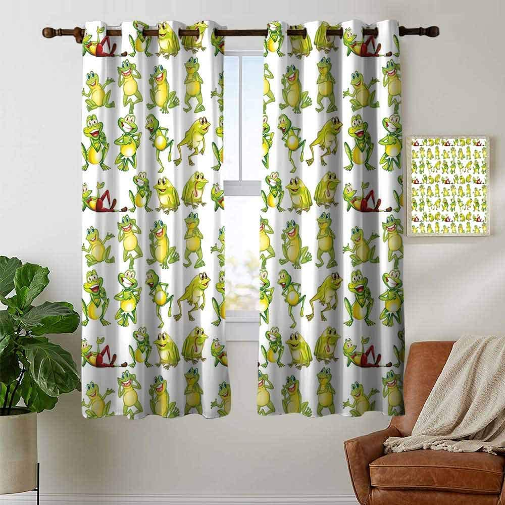 petpany Print Curtains for Bedroom Curtain Nursery,Couples of Owls Sitting on Spring Branches Cute Funny Cartoon Characters,Turquoise Blue Pink,Grommet Window Treatment Set for Living Room 42x45