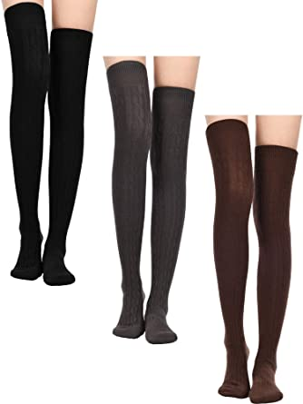 d16d15d9c27e1 3 Pairs Thigh High Socks Leg Warmers Stockings Over Knee Cotton Socks Winter  Warm Stockings for Women Favors (Color Set 1): Amazon.co.uk: Clothing