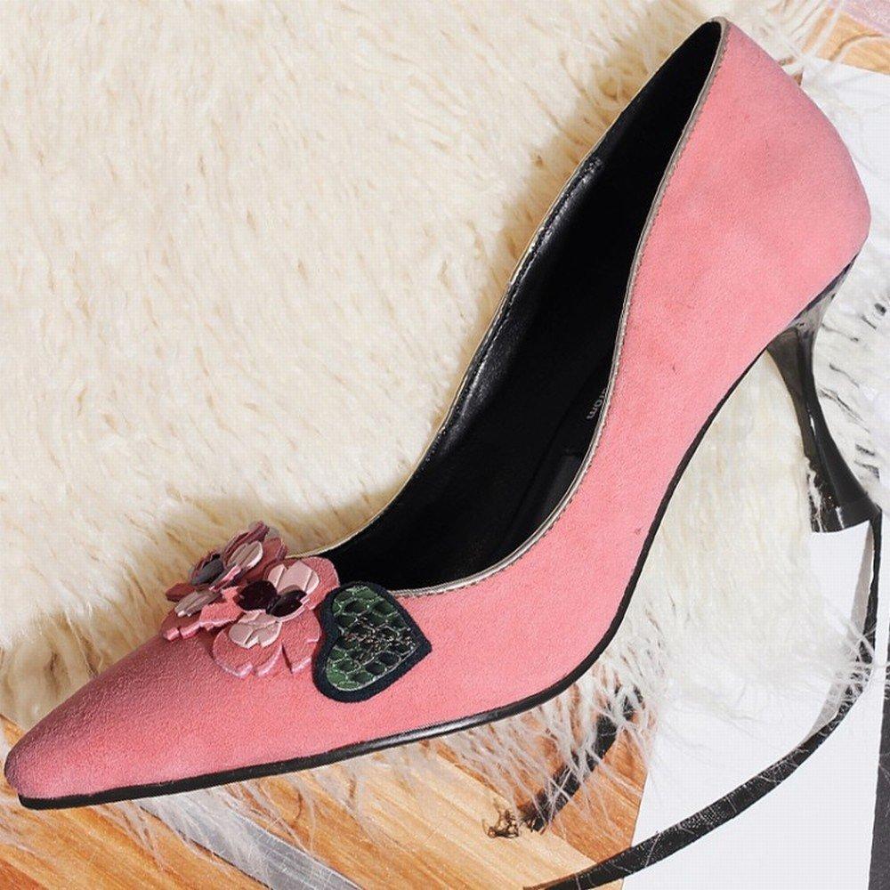 DIDIDD Weibliche Schuhe Zeigten Flache Flache Flache Hohe Absatzsandelholze der Flachen MundBlaume mit Einer Einzelnen Frau Ein 38 b6f6ee