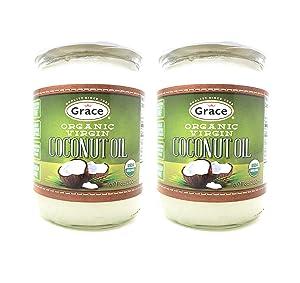 Grace Organic Virgin Coconut Oil (2 Pack, Total of 1000mL)