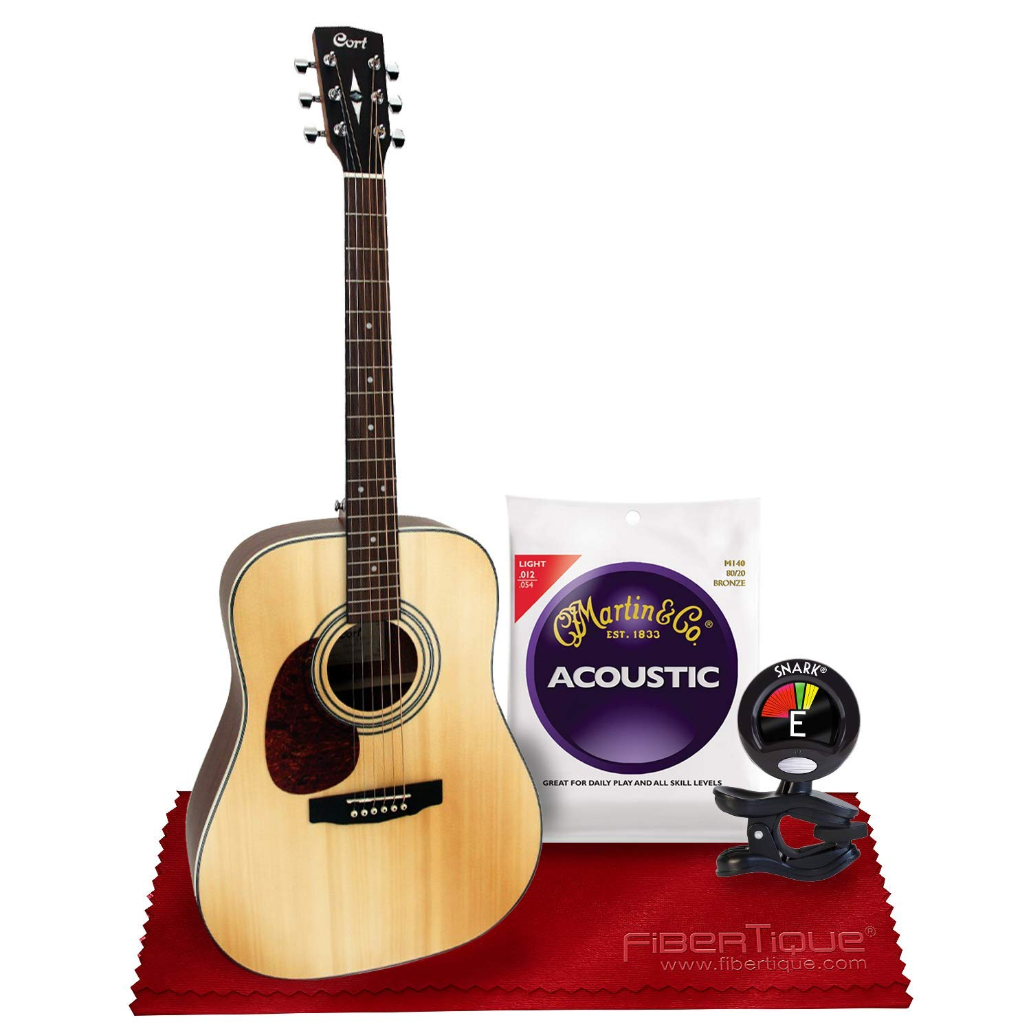 Cort Earth Series Earth70 Dreadnought Acoustic Guitar with Tuner, Strings, Picks Bundle by Cort