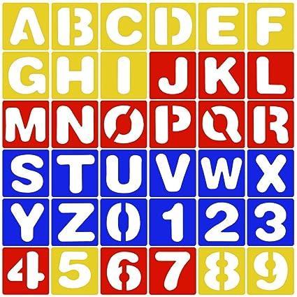 (36 pack) 26 Plantillas de Letras Alfabetos (AZ) + 10 Plantillas de Números (0-9) de Plastico Multicolor para Pintura Diy Bricolaje