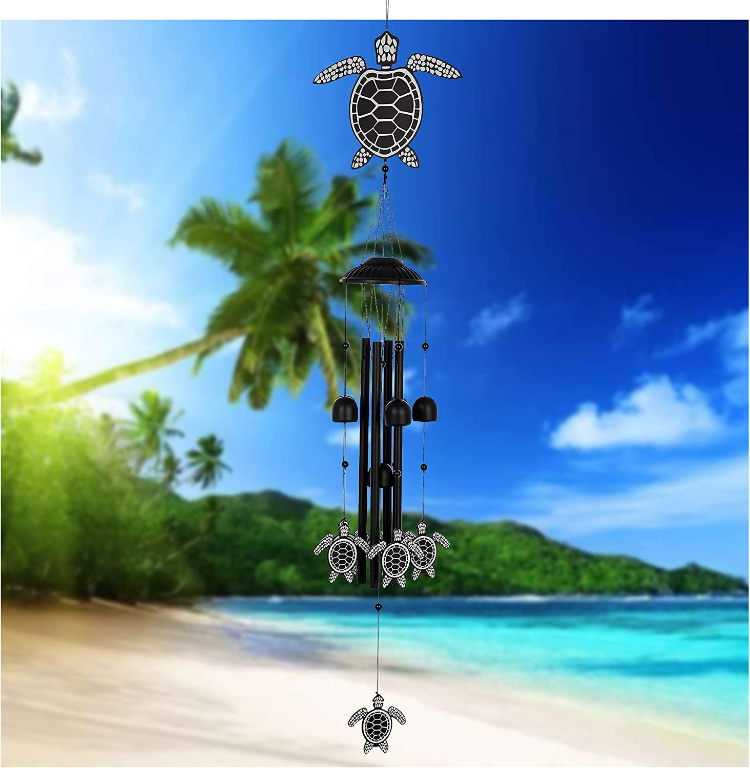 """MEMGIFT Sea Turtle Wind Chimes for Outside 32"""" Beach Room Indoor Home Patio Garden Déco Yard Porch Trendy Handmade Animal Windchimes for Decoration Friendship Daughter Sister Women Best Friend"""