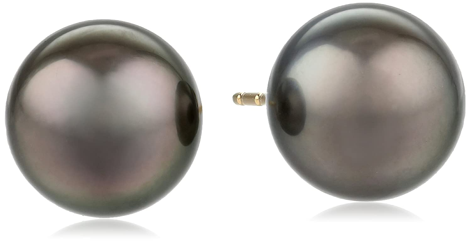 14k Gold Natural Color AA Quality Tahitian Cultured Pearl Earrings (8-9mm)