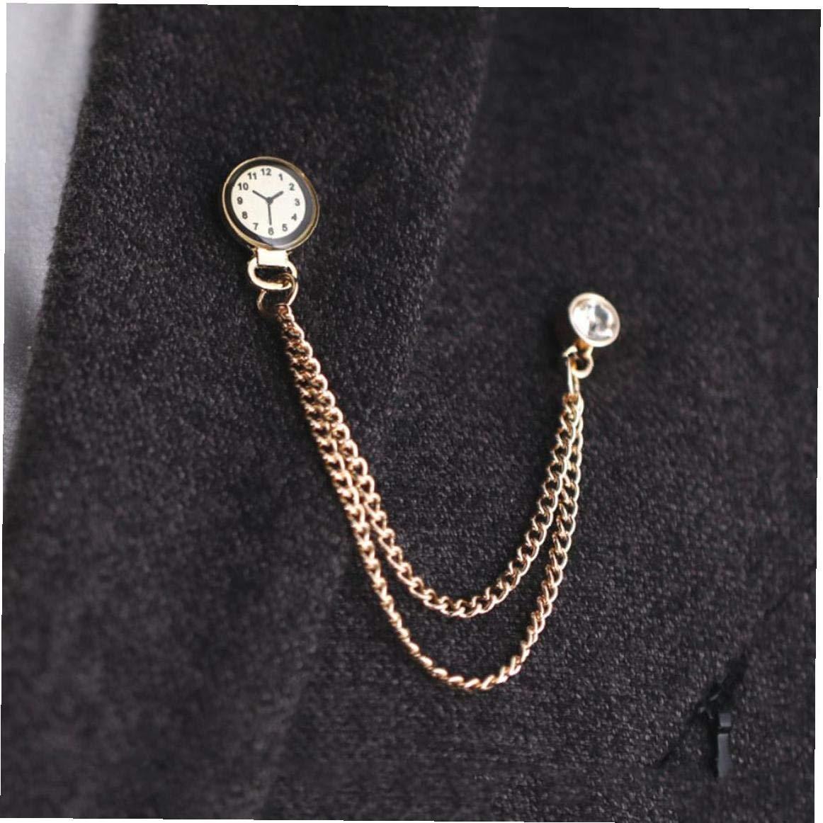 Horloge cha/îne Broches Pins m/étal Badge Pin Lapel Femme Homme Accessoires Bijoux