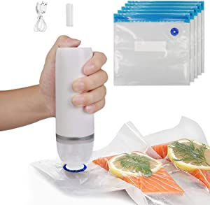 SOOKU Food Vacuum Pump Sealer Machine, Handheld Automatic Electric Food Sealer with 5PCS Reusable Bags, Portable and Rechargeable Vacuum Sealer Set for Cooking and Food Storage