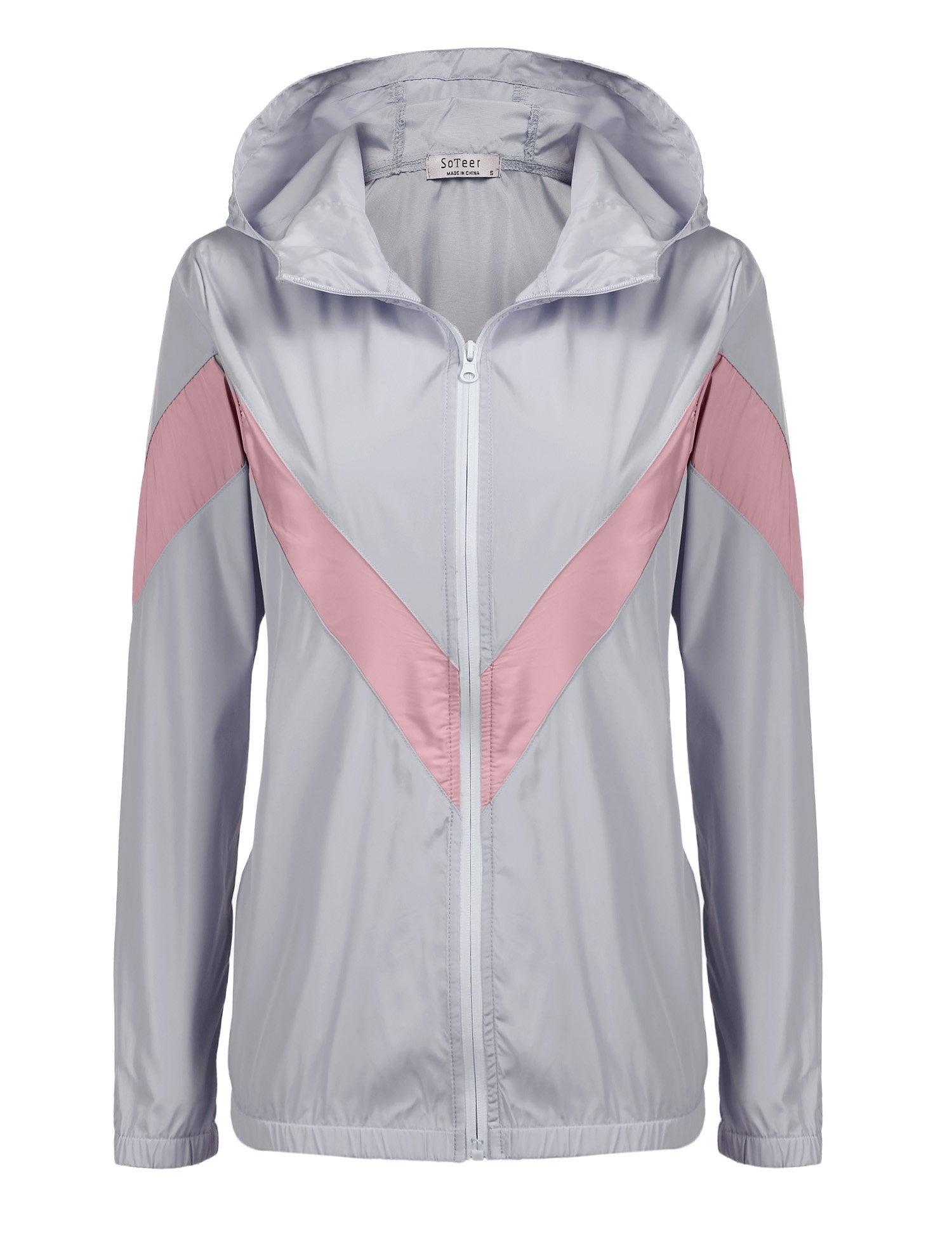 SoTeer Women's Summer Lightweight Raincoat with Hood Windproof Waterproof Jacket Coat Windbreaker Grey M