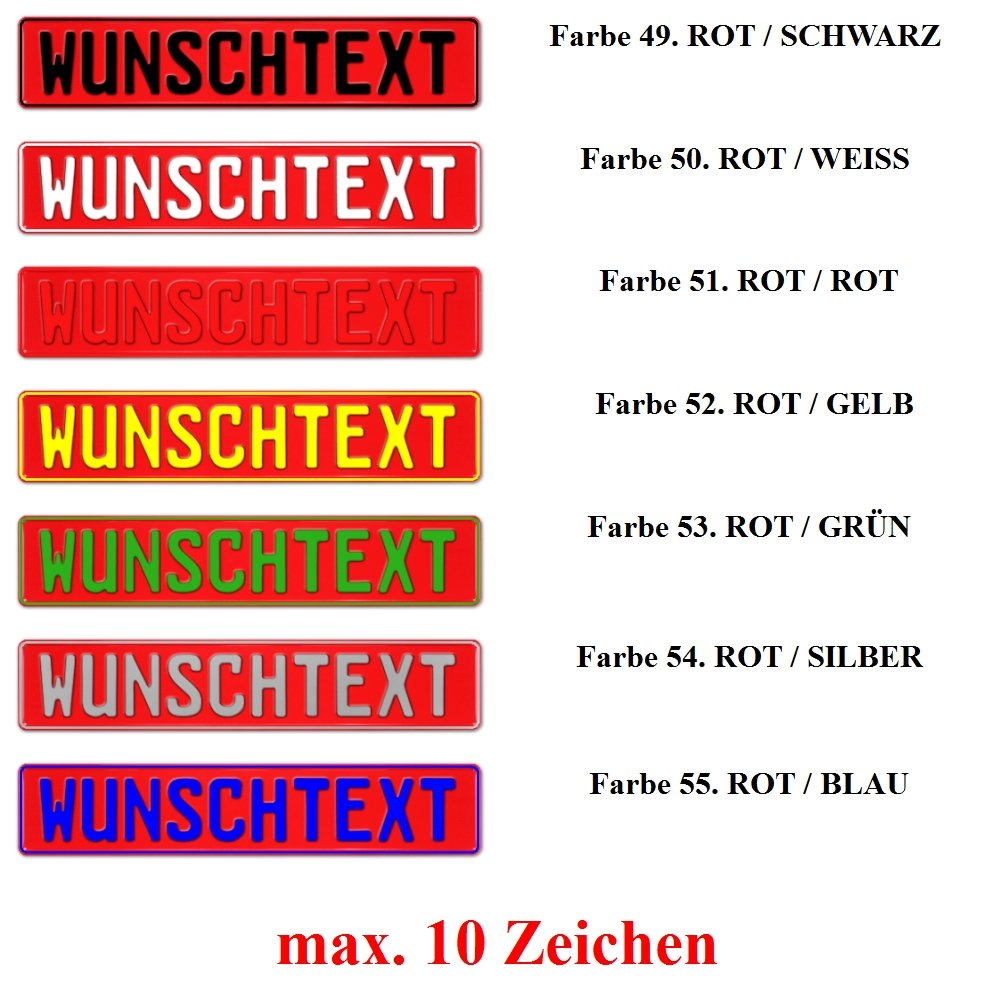 TEILE-24.EU Malinowski 1 x KFZ Kennzeichen pink schwarz Silber blau gelb gr/ün rot Weiss Fun Schild Bunt
