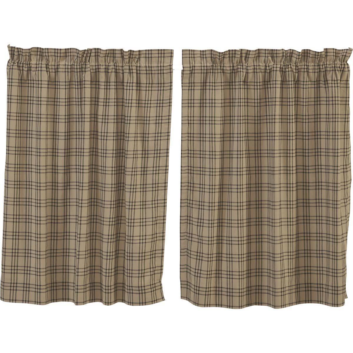 VHC Brands Farmhouse Kitchen Window Curtains - Sawyer Mill Tan Tier Pair 36x36 Charcoal Dark