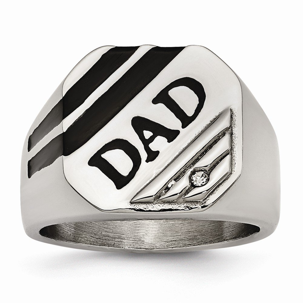 Jewels By Lux Stainless Steel Polished Black Enameled CZ Signet Dad Ring