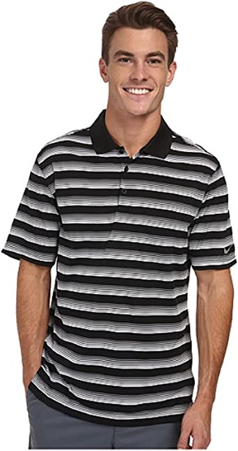 Nike Golf Polo de Rayas de Manga Corta, Color Negro y Blanco ...