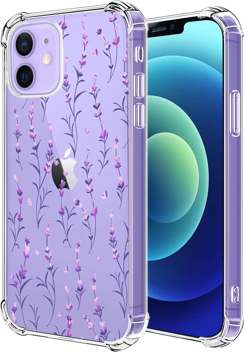 Hepix Clear Lavender Flower Case Compatible with iPhone 12 Mini, Cute Pretty iPhone 12 Mini Case Purple Floral Design for Girl Women TPU Bumper Protective Anti-Scratch Cover for iPhone 12 Mini