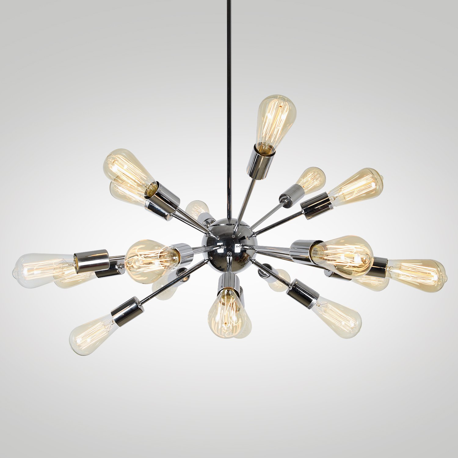EdiMoM Brand; Satellite Metal 35.4-in 18-Light Brushed Nickle Tiered Chandelier
