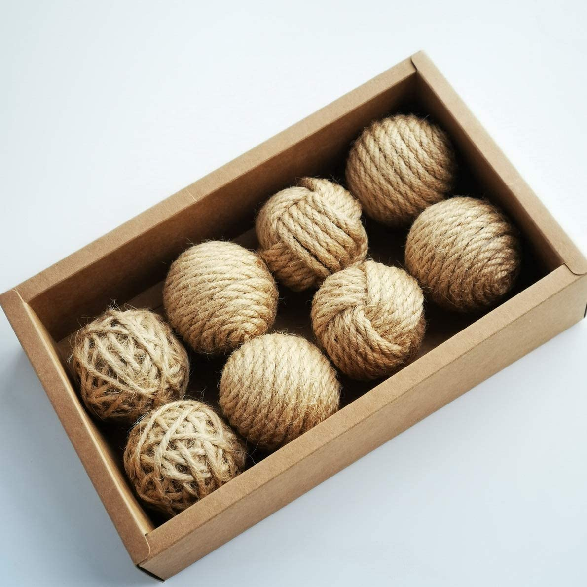 Set of 8 orb Bowl fillers Decor Party Decorations Rustic Jute Rope Balls for Home
