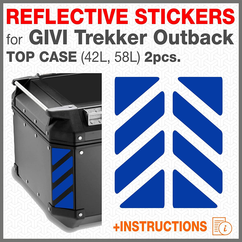 2pcs Reflective Stickers for GIVI Monokey Trekker Outback Alluminium TOP CASE 37 42 48 L Black