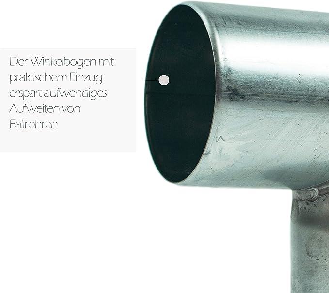 Zink Winkelbogen 60 mm mit 87 Grad Rohrwinkel mit Einsteckfase f/ür einfache Montage Rohrwinkelbogen f/ür Titanzink Regenrohre in DN 60