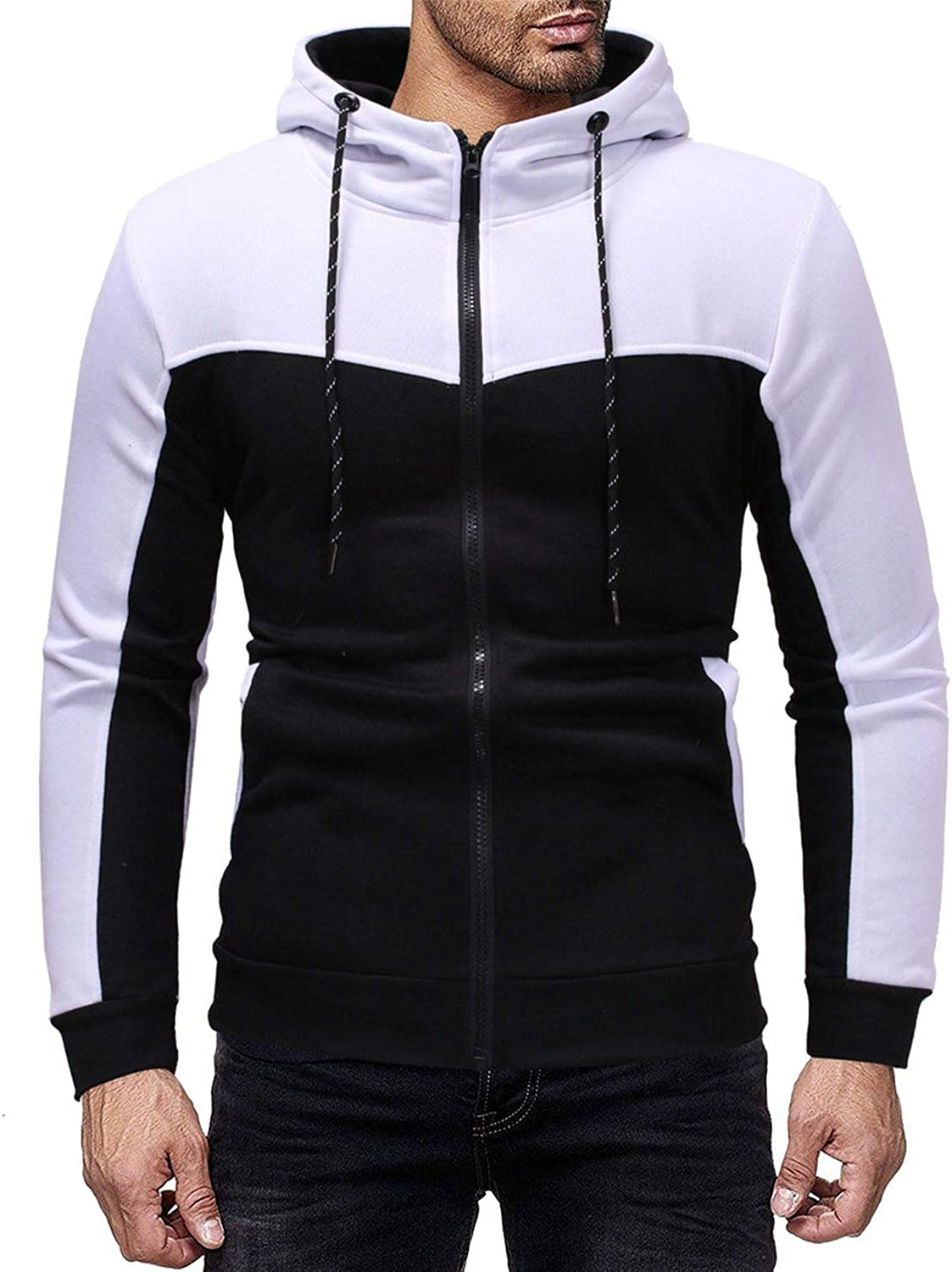 Mens Outdoor Casual Slim Fit Sweatshirt Hoodies Top,White Top,L