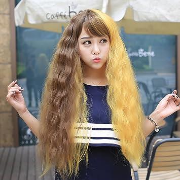 Gradient Frauen Lange Haare Hervorhebung Heissen Mais Bi Color Farbe