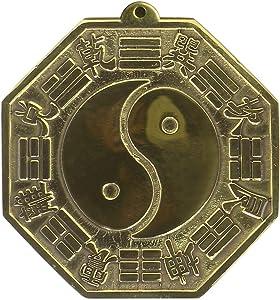 Babofarm Chinese Feng Shui Bagua Bakua Brass Convex Mirror 3.2 Inch Home Protection Amulet