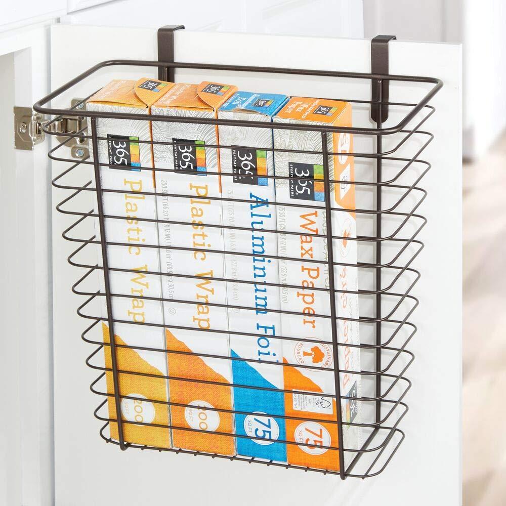 Rangement Cuisine pour la Porte du Placard argent/é mDesign Panier de Rangement Sacs Plastique et Autres Panier en m/étal Pratique pour Papier Aluminium
