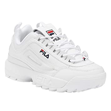 Fila Womens Disruptor II Premium White Navy RED Size 5 e05bb4ad2e