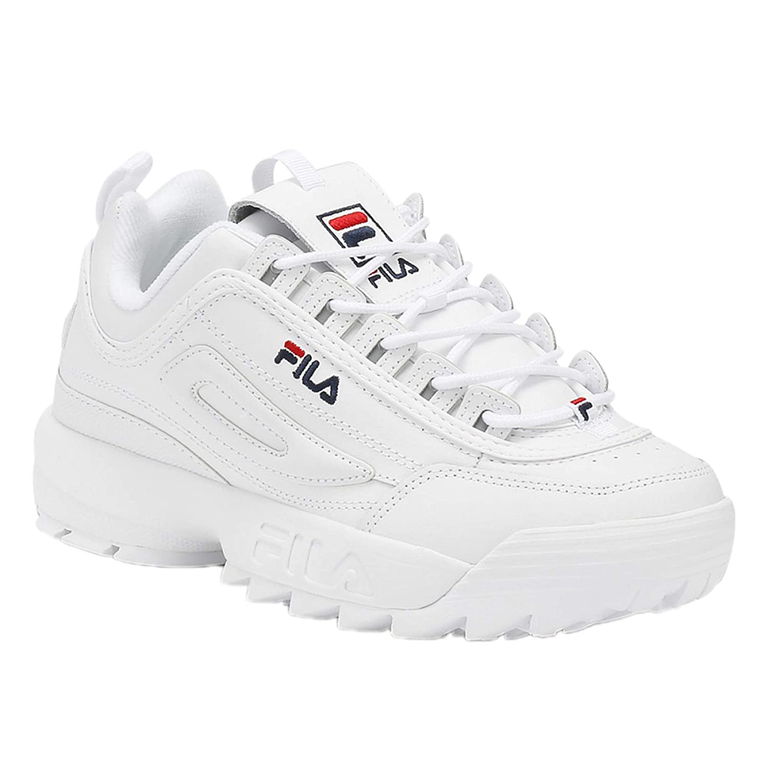 Fila Women's Disruptor II Sneaker (5, White/Navy/Red)