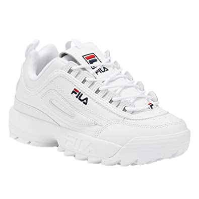 17633040 Fila Women's Disruptor II Sneaker (5, White/Navy/Red)