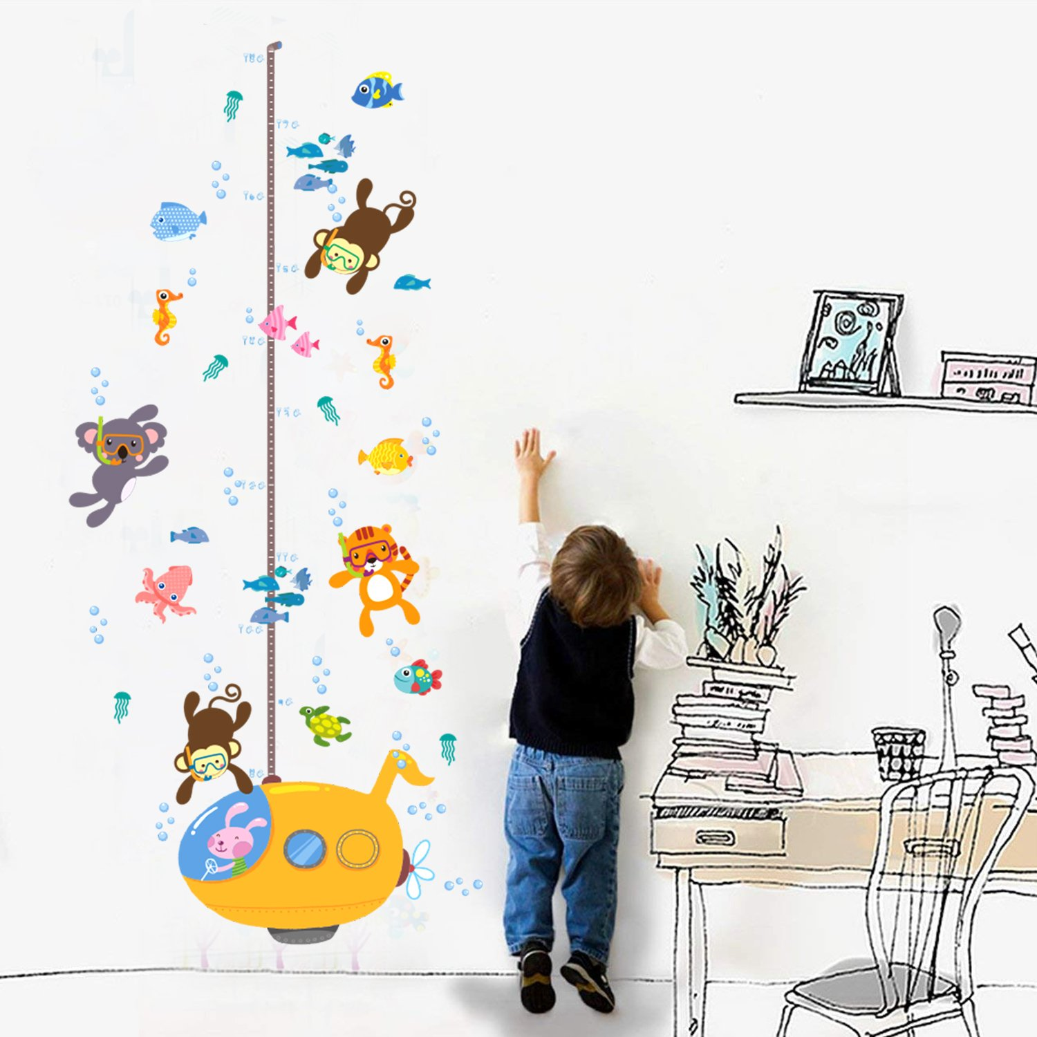 Kids Room Height Ruler Wall Decals DIY Cartoon Animal Swimming Growth Chart Removable Measurement Rulers Nursery Home Decor for Girls /& Boys Measures Up to 5.9 Feet HUABEI