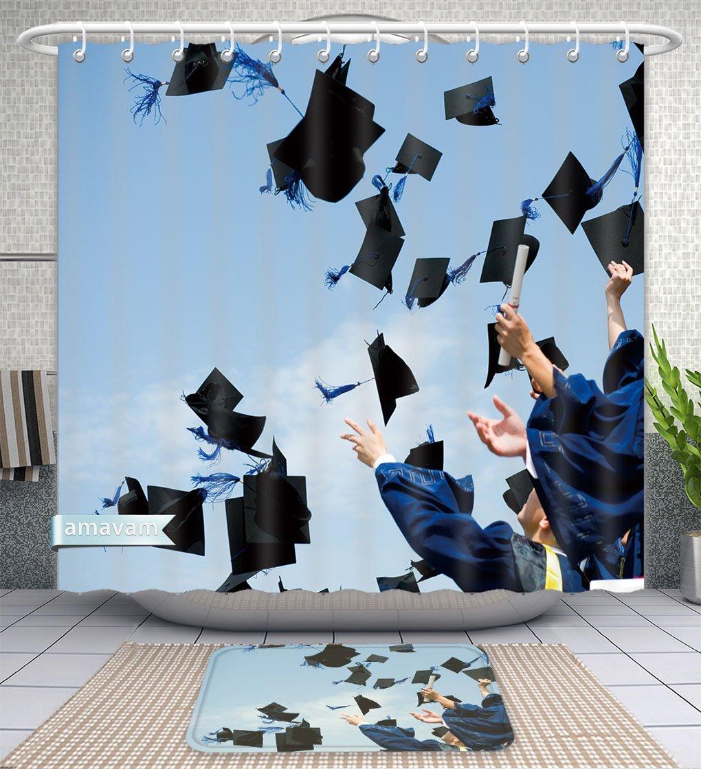 Amavam Bathroom 2-Piece Suit High School Graduation Hats High Shower Curtains And Bath Mats Set, 71'' Wx79 H & 31'' Wx20 H by Amavam (Image #1)