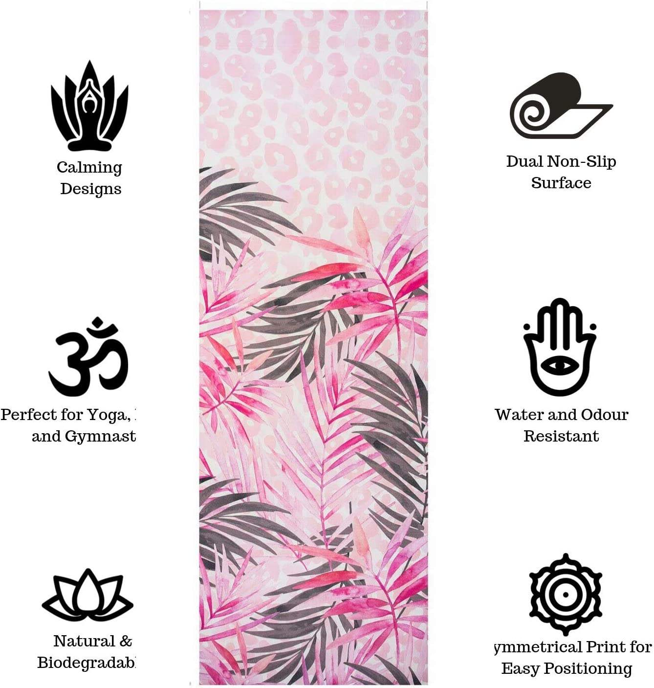 FAIRWAYUK Pilates Mats for Women Extra Thick and Long Pink Exercise Mat Pink Pattern Designs with Carry Strap