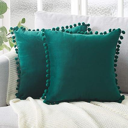 Topfinel juego 2 Hogar cojín terciopelo Decorativa Almohadas Fundas con pelota de color sólido Para Sala de Estar sofás 40x40cm Verde Oscuro