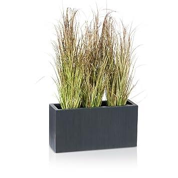 maceta jardinera de fibra de vidrio visio u color gris antracita estriada u maceta