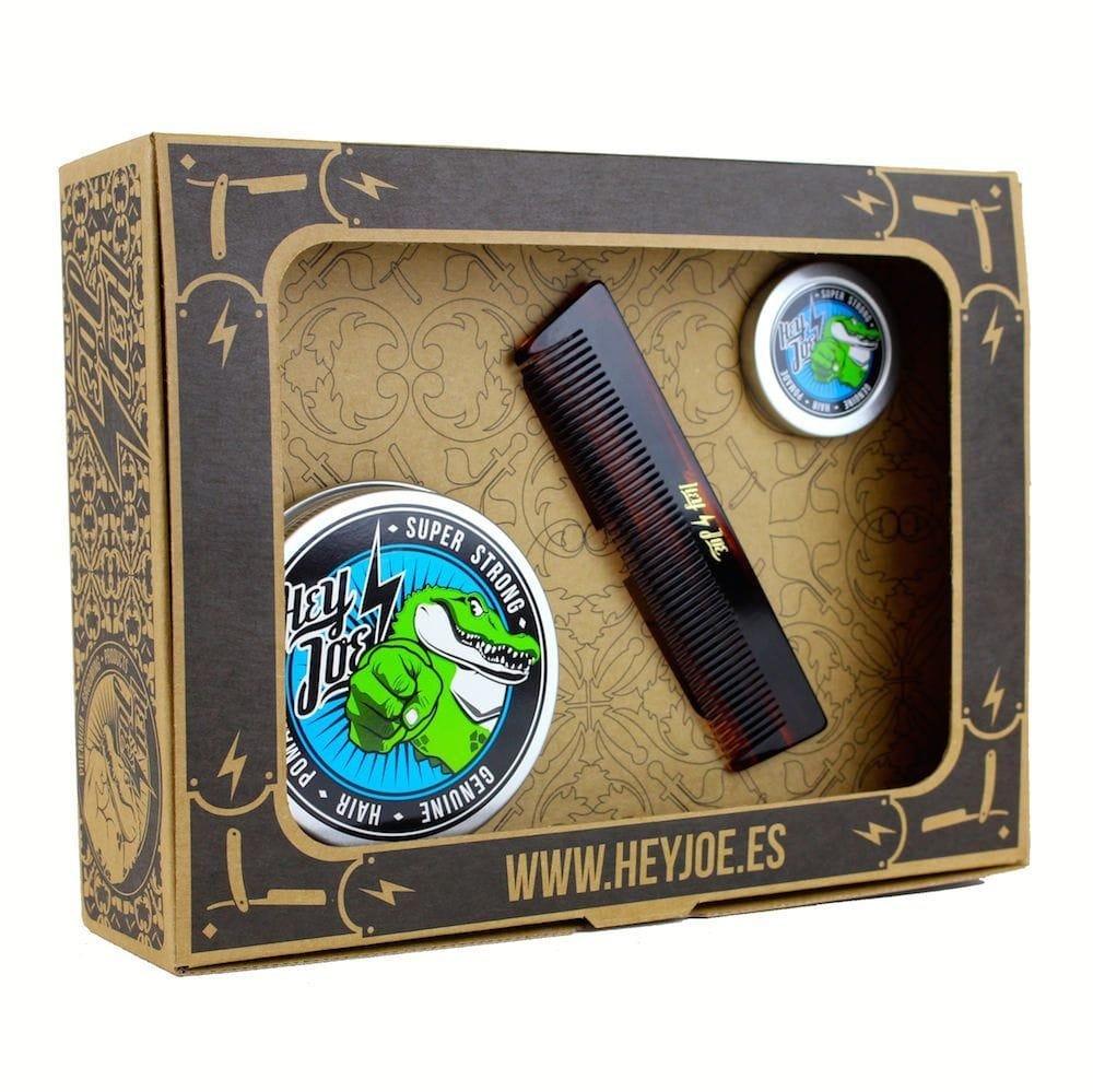 HEY JOE - Pomade Survival Kit SUPER STRONG | Kit pomada EXTRA FUERTE contiene la pomada 100 ml, 15 ml. y nuestro peine de bolsillo hecho a mano INTERACTIVE COSMETICS SRL