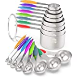 Measuring Cups & Spoons Set of 16 - Wildone Premium Stainless Steel Measuring Cups and Measuring Spoons with Colored…