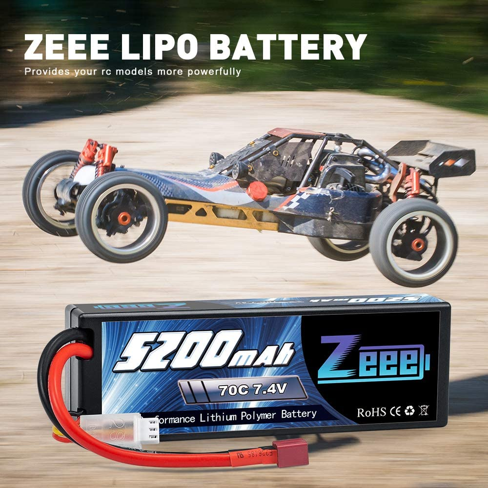 Zeee 2S Lipo Battery 7.4V 70C 5200mAh Hard Case with Deans Plug for 1//8 1//10 RC Vehicles Car Trucks Airplane Boats 2 Packs